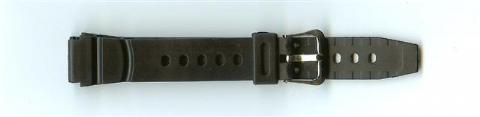 Black Rubber Value Watch Strap 14mm (Silver Buckle)